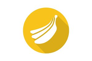 Bananas bundle flat design long shadow glyph icon