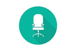 Computer chair flat design long shadow glyph icon