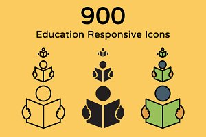 900 Education Responsive Icons