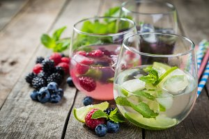 Selection of colorful infused waters in glasses