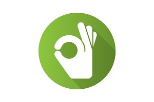 OK hand gesture flat design long shadow glyph icon