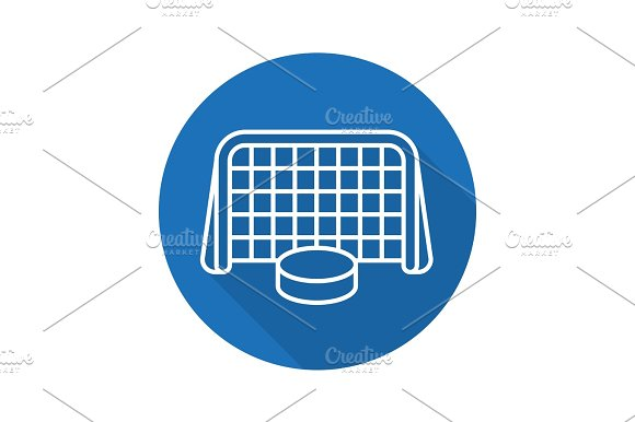 Hockey Goal Flat Linear Long Shadow Icon