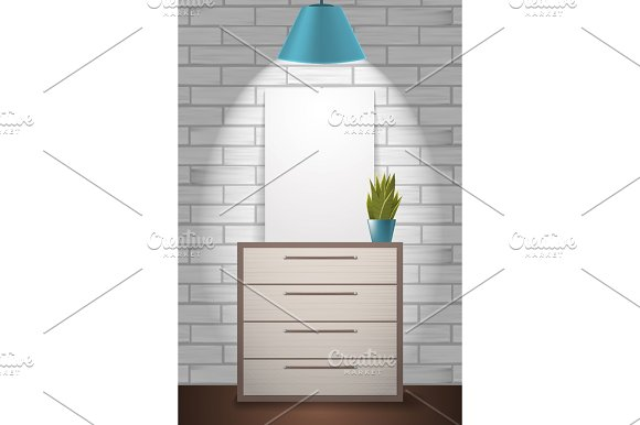 Poster Mock Up And Green Plant Standing On Commode Home Interior Illustration With White Brick Wall