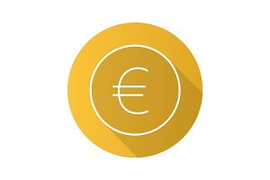 Euro sign flat linear long shadow icon