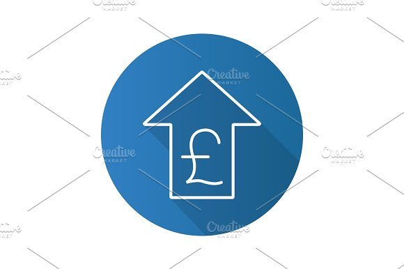 Pound Rate Rising Flat Linear Long Shadow Icon