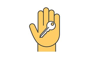 Hand with key color icon