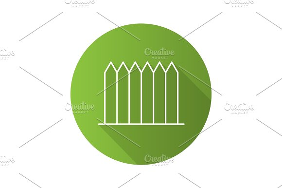 Fence Flat Linear Long Shadow Icon