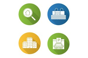 Real estate flat design long shadow glyph icons set