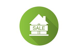 House for sale flat design long shadow glyph icon