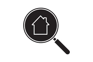 Real estate search glyph icon
