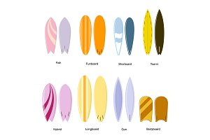 Color Surf Board Set. Different