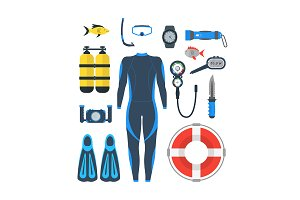 Diving Equipment Set. Vector