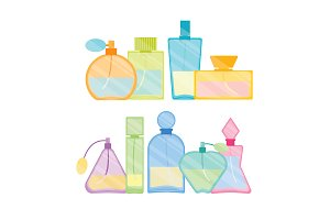Vintage Perfume Bottle Color Set
