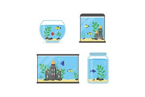 Glass Aquarium Set for Interior