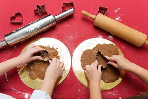 Children making christmas gingerbread