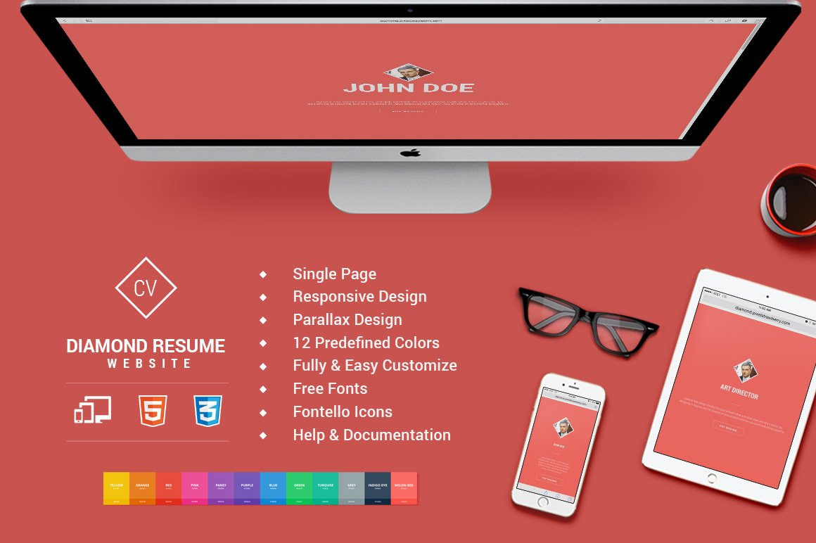 responsive html5 diamond resume cv website templates on creative market - Online Resume Website