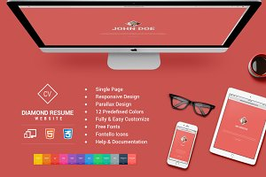 Responsive HTML5 Diamond Resume CV