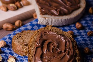 Healthy bread with Chocolate spread and nuts