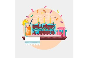 Holiday birthday background with cake present and juice. Vector illustration
