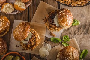 Barbecue pulled pork burger