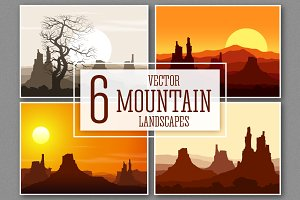 Set of Mountain Landscapes. Vector