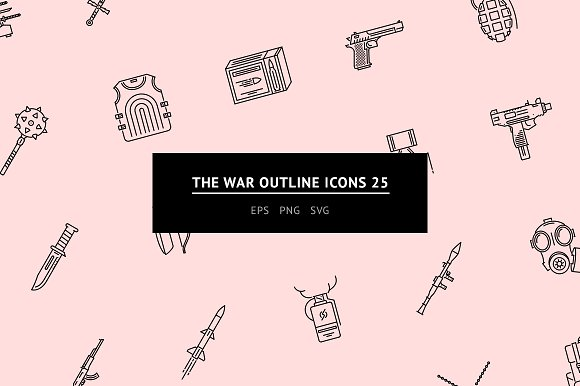 The War Outline Icons 25