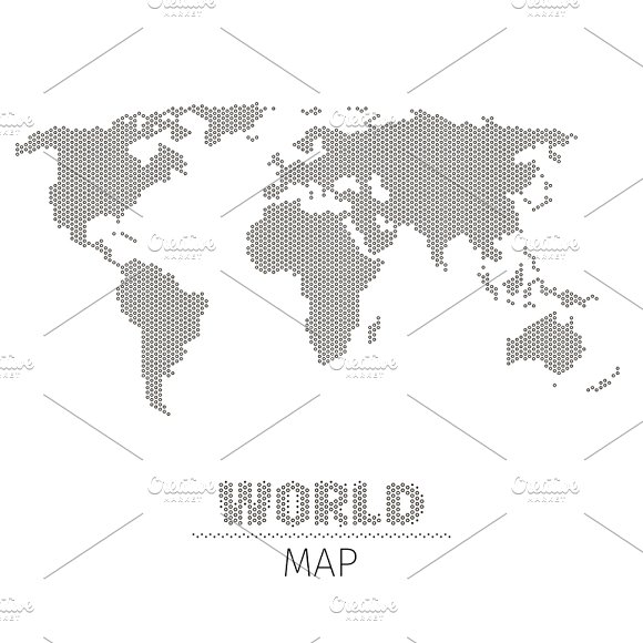 Hexagonal Dots World Map