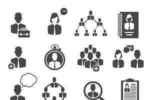 Business management structure icons