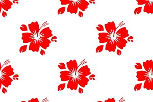 Seamless pattern with red flower