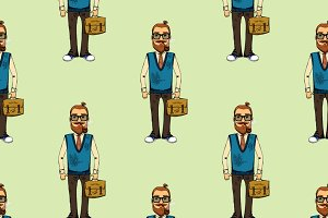 Seamless pattern with business man
