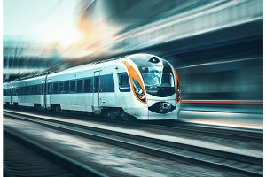 High speed train in motion at the railway station