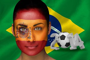Spanish football fan in face paint