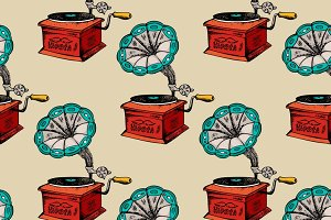 Retro gramophone seamless pattern