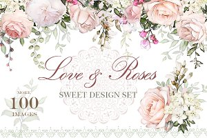 Love & Roses. Floral Design set