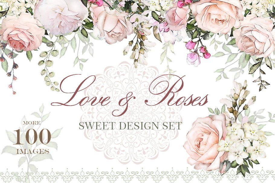 Love   Roses. Floral Design set ~ Illustrations ~ Creative Market 1038cae23d6e4