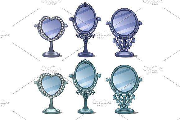 Vintage Mirrors With Ornament And Decoration