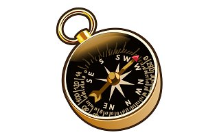 Vector ancient compass in cartoon style