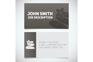 Business card print template with stones for massage logo