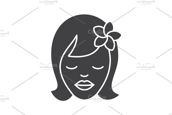 Girl With Plumeria Flower Glyph Icon