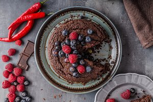 Brownies cake with chilli and berrries