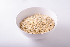 Oatmeat in bowl white