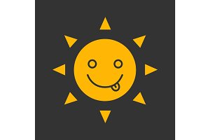 Yummy sun smile glyph color icon