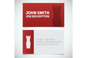 Business card print template with evening dress logo
