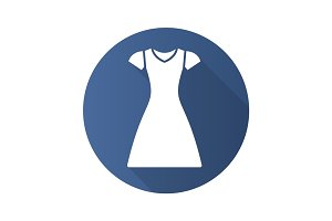 Sun frock flat design long shadow glyph icon