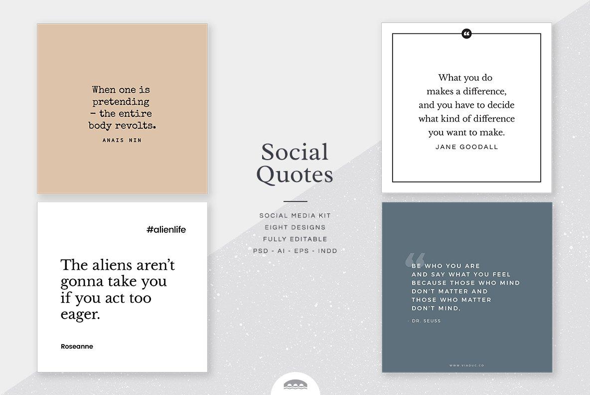 Quotes Social Media Kit Instagram Templates Creative Market