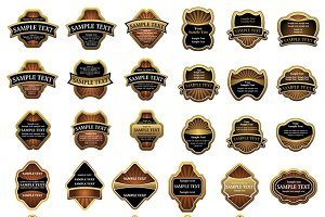 Retro golden brown and black labels