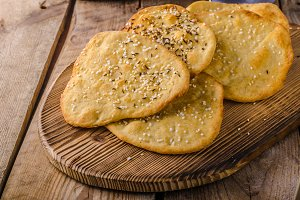 Homemade crackers, baked in oven