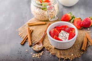 Fresh granola with organic yogurt