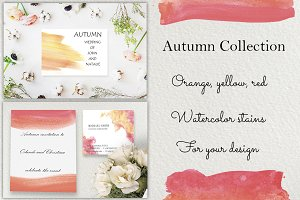 Autumn watercolor brushstrokes