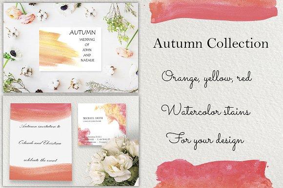 Autumn Watercolor Brushstrokes